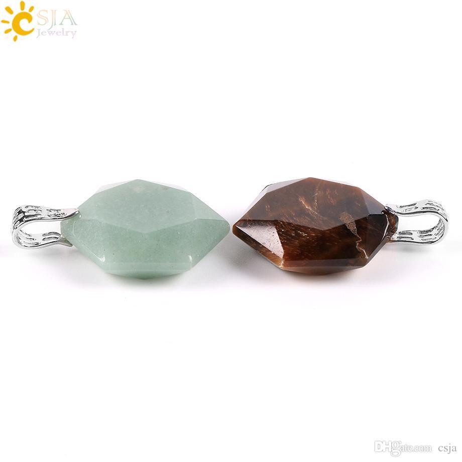 CSJA Facetada Estrelas Hexagon Charme Pingentes de Colar para Mulheres Dos Homens de Equilíbrio Reiki Pedra Natural Verde Jade Moda Jóias E643 A