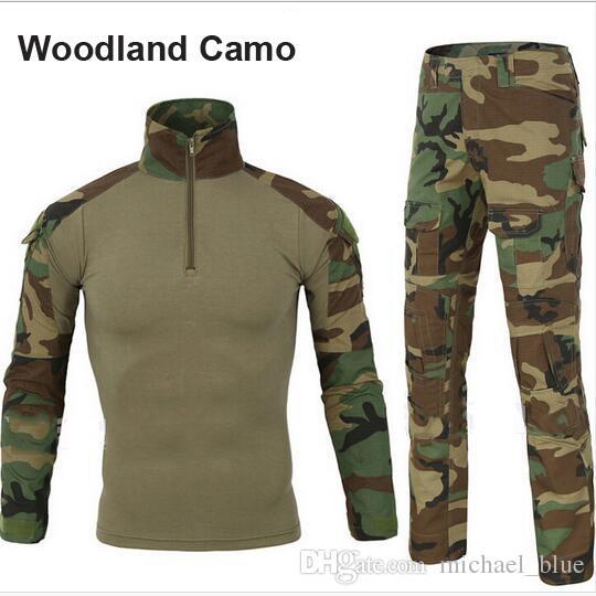 8da87dd36d3a8b Tactical Combat Suit Frog Uniform Armee Kleidung taktische Hosen mit  Knieschützer Long Sleeves Shirt mit Ellbogenschutz Tarnkappenuniformen