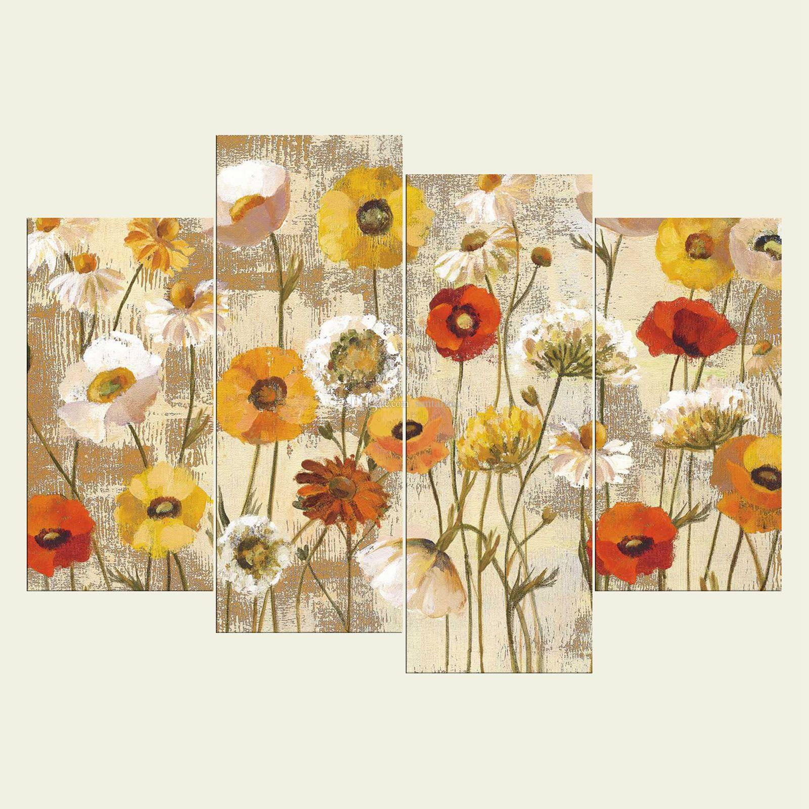 No Frame Flowers Four Series HD Canvas Print Wall Art Oil Painting ...