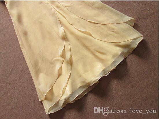 Abiti da damigella d'onore giallo corto in chiffon Sweetheart senza maniche senza maniche increspato damigella d'onore abiti da festa Vestido de Bridal