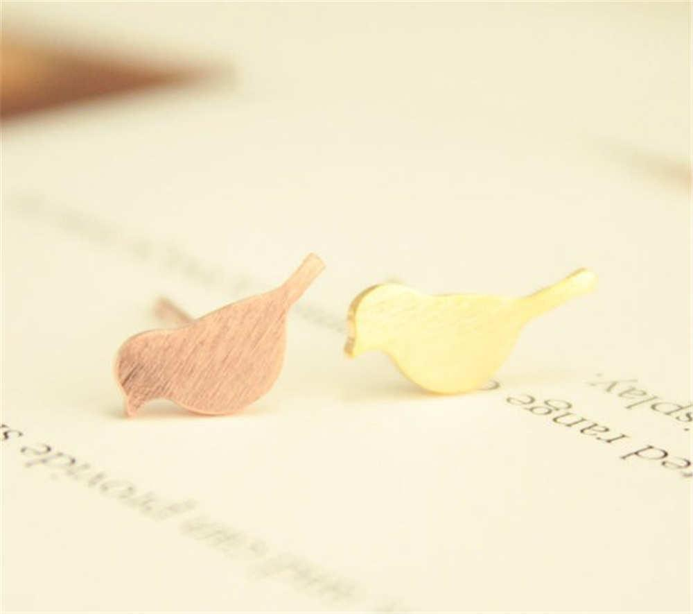 Earrings Brushed Surface Cute Sparrow Studs Bird Earring Women Kids Love Gift Fashion Jewelry jl-028