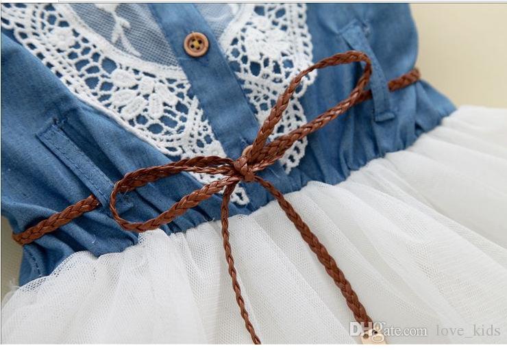 Baby Girl Dress Niños manga corta Vestidos de encaje de mezclilla con botón Niños Princesa Vestidos de verano para niñas
