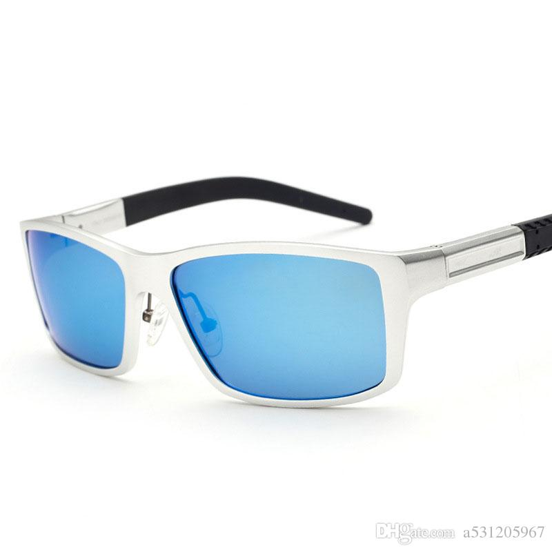 25e6df0ee1 AORON Men s Aluminum Polarized Lens Square Mirror Sunglasses Sun ...