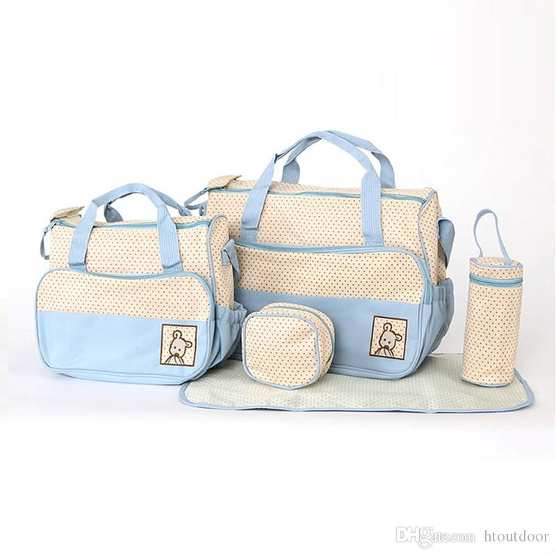 5 in 1 Combination Multi Function Baby Nursing Pad Diaper Nappy Changing Tote Handbag Mummy Mother Bag Pack