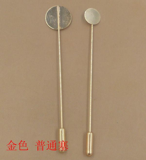 Bulk 10MM disco 15 MM pad argento / oro rosa / bronzo antico placcato rame lungo spilla base, vuoto pin spilla impostazioni castoni bezel