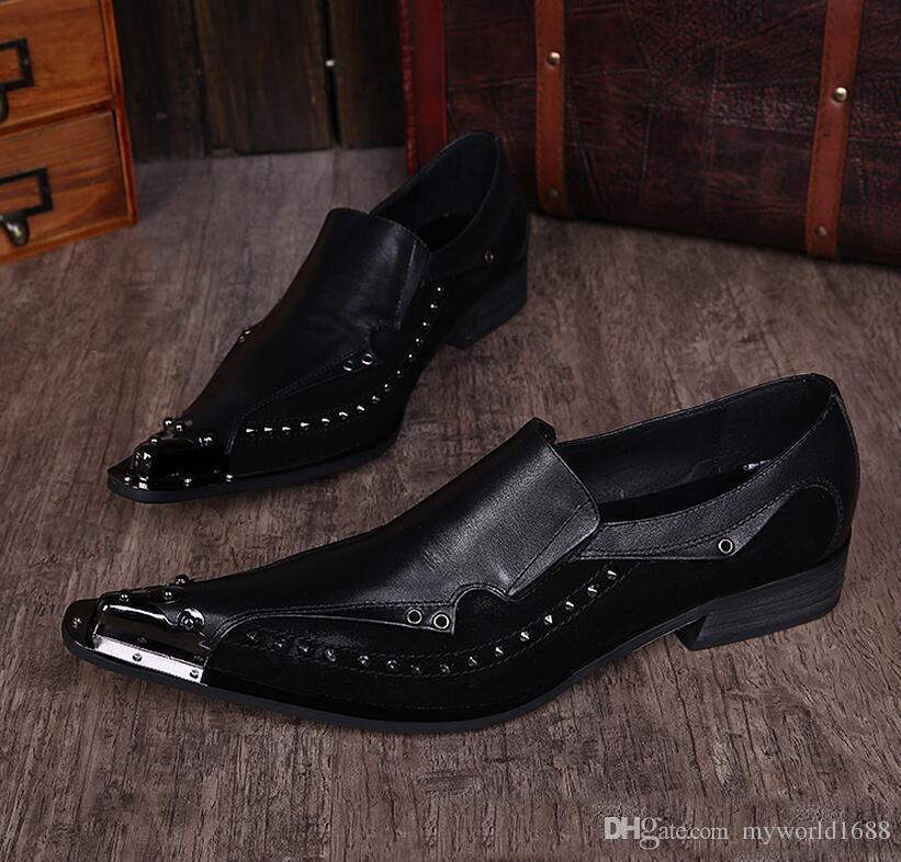 Новое прибытие из натуральной кожи заклепки металла головы Остроконечные Toe обувь Мужчины сексуального способа партии вечера Свадебная обувь