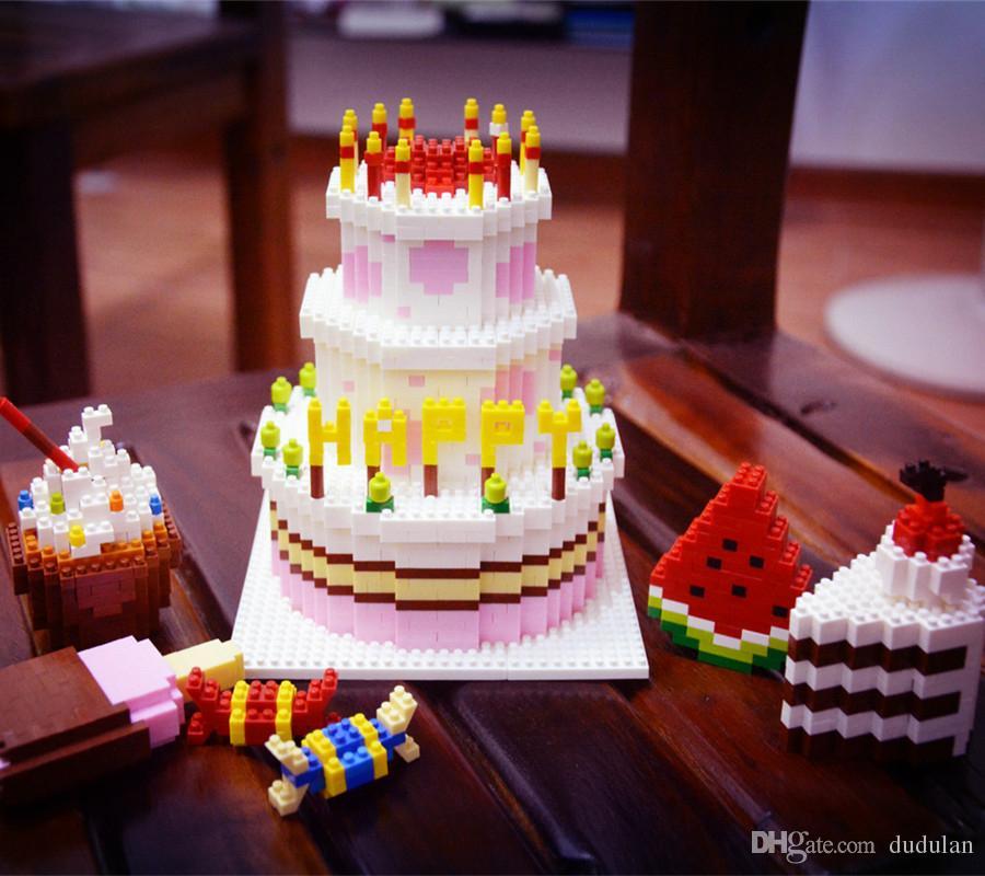 New creator diamond Happy birthday cake blocks fruit sweet sugar icecream bricks children DIY educational toys for gift #7806