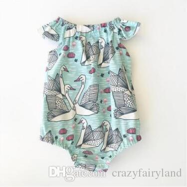 1af0e736c 2019 INS Cartoon Swan Baby Onesies Newborn Baby Girl Summer Rompers ...