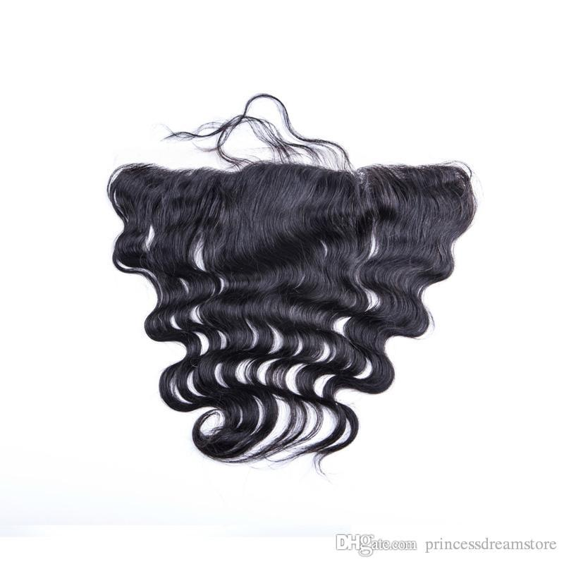 "Best Brazilian Hair Lace Frontal Closure 13x2 Bleached Knots 8-20"" body wave Full Lace Frontal Brazilian Closure no tangle no shedding"