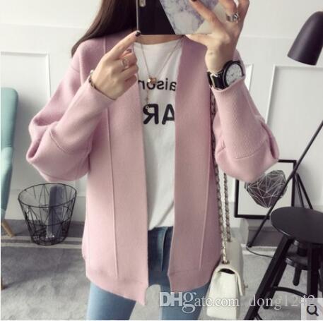 Новая весна 2017 Женская одежда Хан издание цю Дон Джокер свободные вязание кардиган свитер студенты свитера