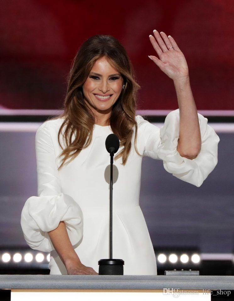 Melania Trump Little White Dresses 2017 Mantel Rundhalsausschnitt Zurück Split Baloon Sleeves Abendkleider Nach Maß