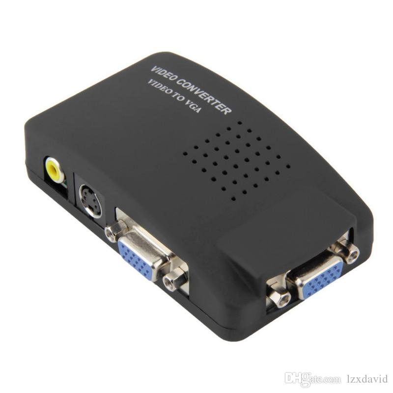 كمبيوتر محمول مركب AV / S الفيديو إلى محول VGA TV مراقب مراقب تبديل صندوق LCD خارج محول محول مربع التبديل