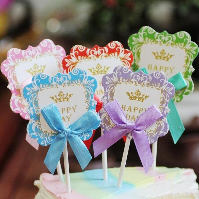 cake toppers bowknot lovely paper cards banner for Cupcake Wrapper Baking Cup birthday tea party wedding decoration baby shower