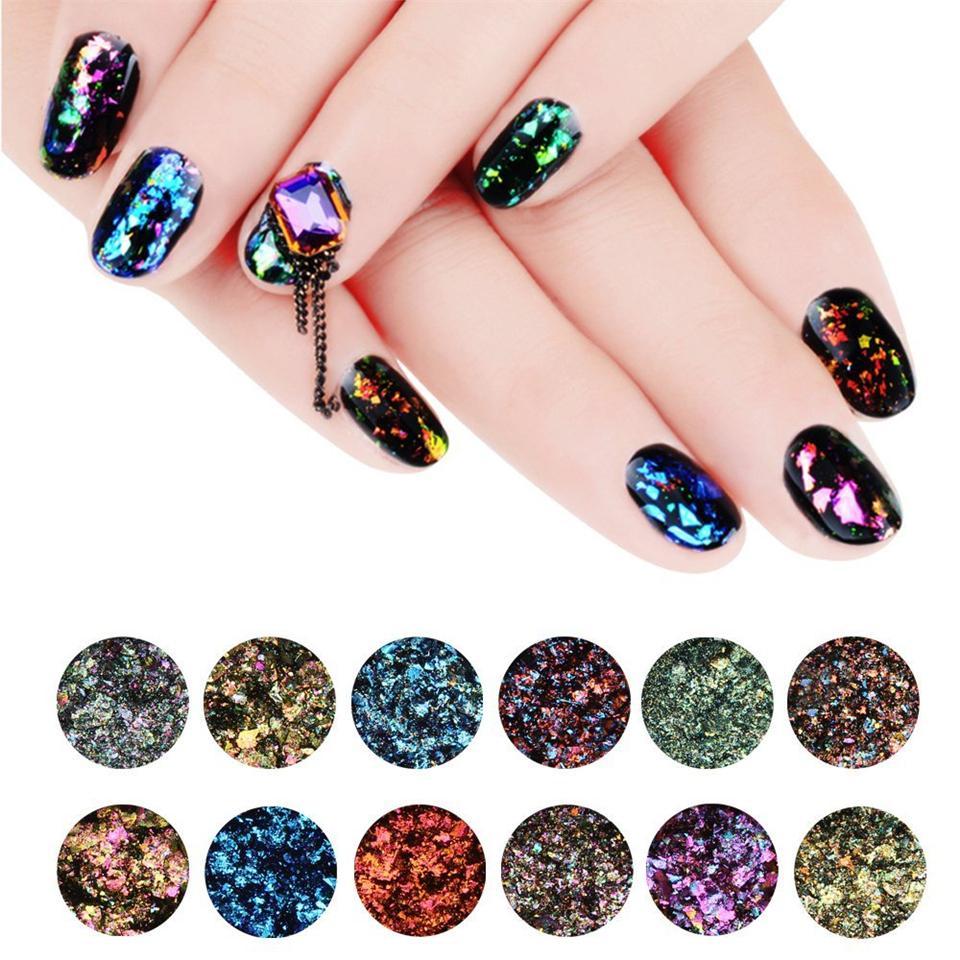 Makartt 12 Jarschameleon Glitter Flakes Galaxy Nail Sequins Nail Art