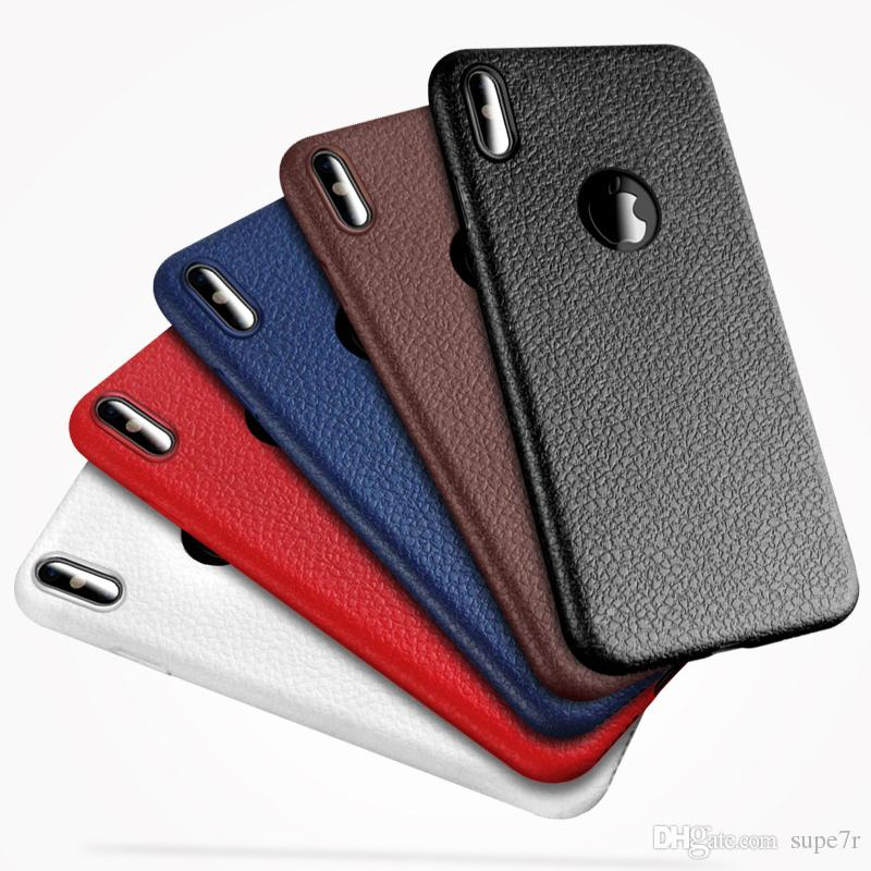 premium selection f8a11 0556b For iPhone x 7 6 Tpu Leather Case Ultra Thin Anti Slip Soft Phone Case For  iPhone 8 7 6 6s Plus