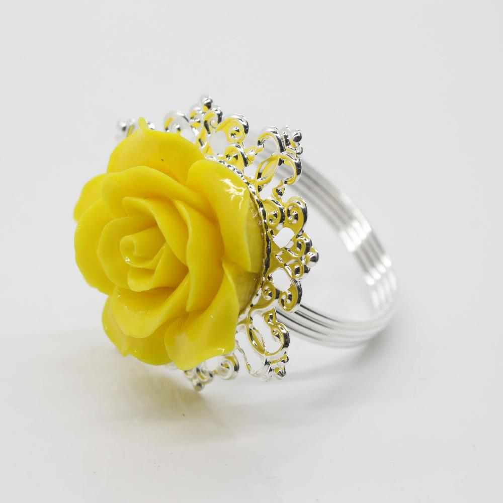 Wholesale Yellow Rose Decorative Silver Napkin Ring Serviette Holder For Wedding Party Dinner Table Decoration Accessories Reindeer Rings Rent: Yellow Roses Wedding Rings At Reisefeber.org