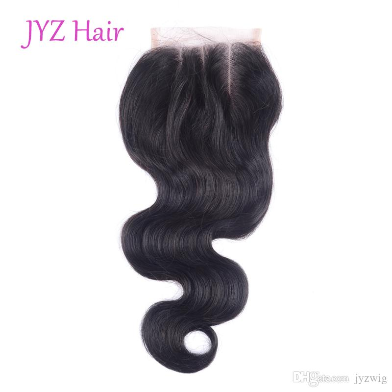 Peruvian Virgin Human Hair 4x4 Lace Closures Straight Deep Loose Body Wave Mongolian Kinky Curly Malaysian Indian Brazilian Human Hair