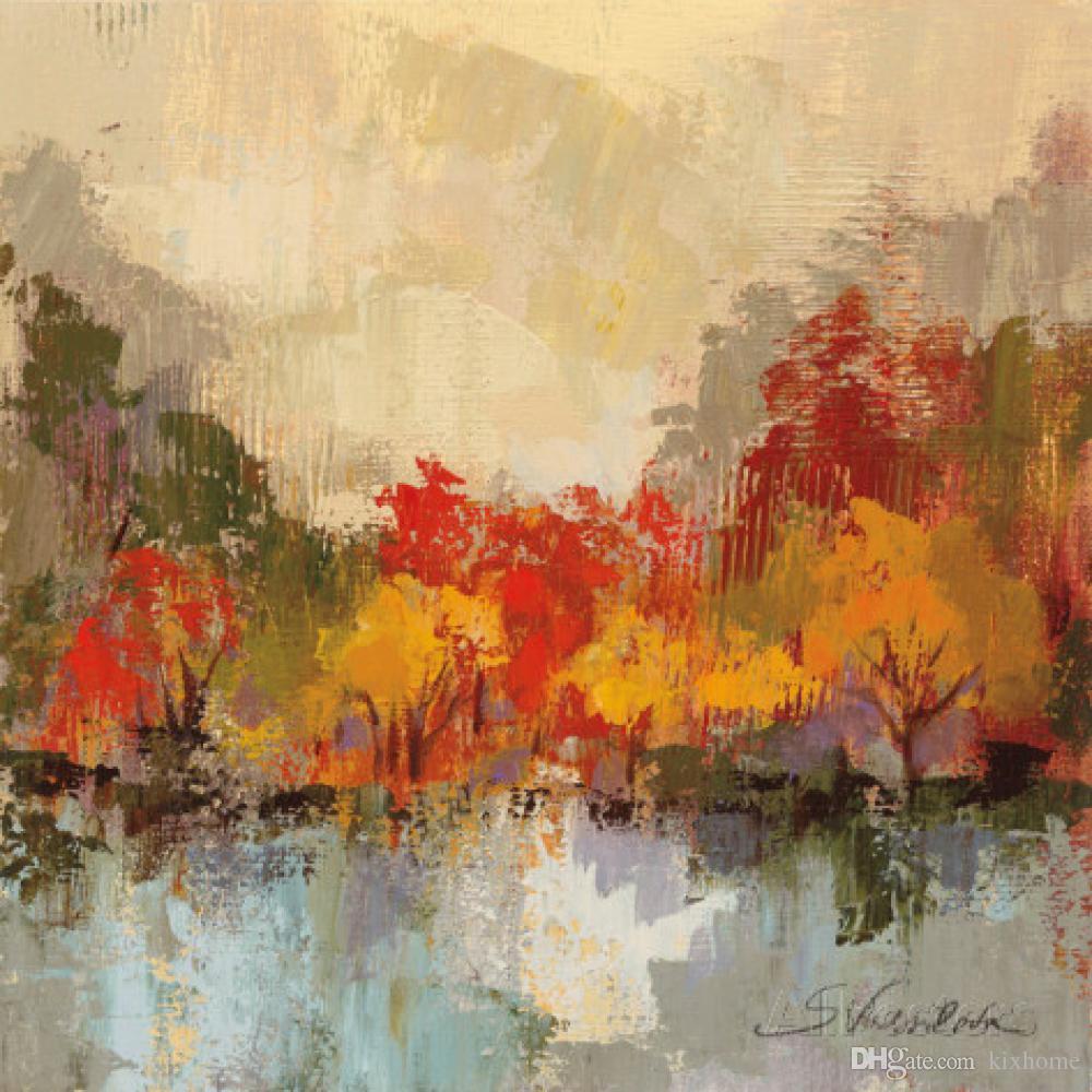 Quadri astratti moderni Silvia Vassileva Fall Riverside Paesaggi arte su  tela dipinto a mano di alta qualità