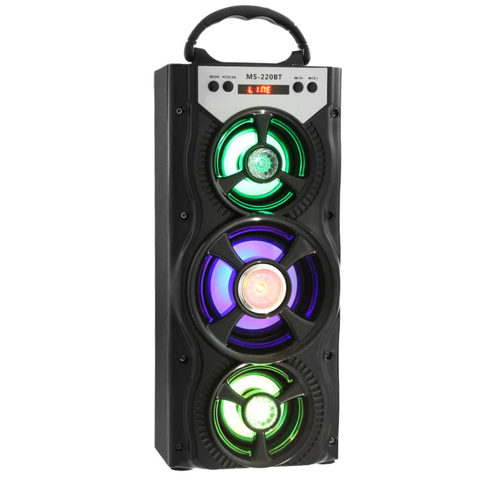 Wholesale- Portable MS - 220BT Bluetooth Speaker FM Radio AUX Huge Stereo Sound With 4-inch Hi-Fi Speaker Colorful LED Light