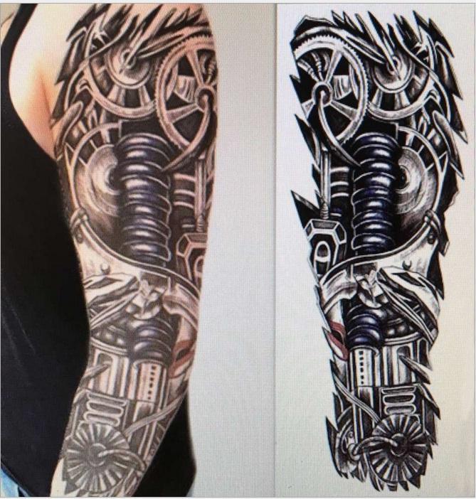 15 45 Cm Robot Brazo Grandes Tatuajes Temporales Mecanico Patten - Tatuajes-brazo