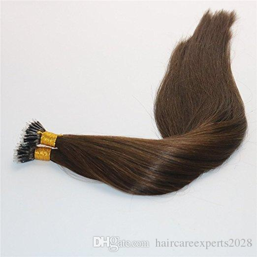 1g/str 100g Keratin Human Hair Extensions with Nano Rings #4 Brown color Nano Ring Loop Remy Hair Extensions