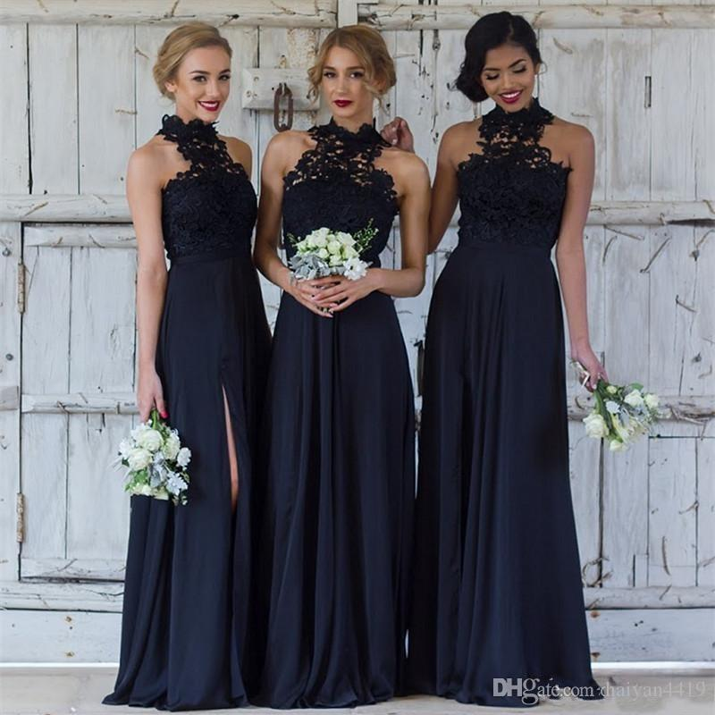 01e665dcd5 2017 Navy Blue Bridesmaid Dresses Halter Neck Lace Applique Illusion  Sleeveless Side Split Chiffon Wedding Guest Dress Maid Of Honor Gowns  Impressions ...