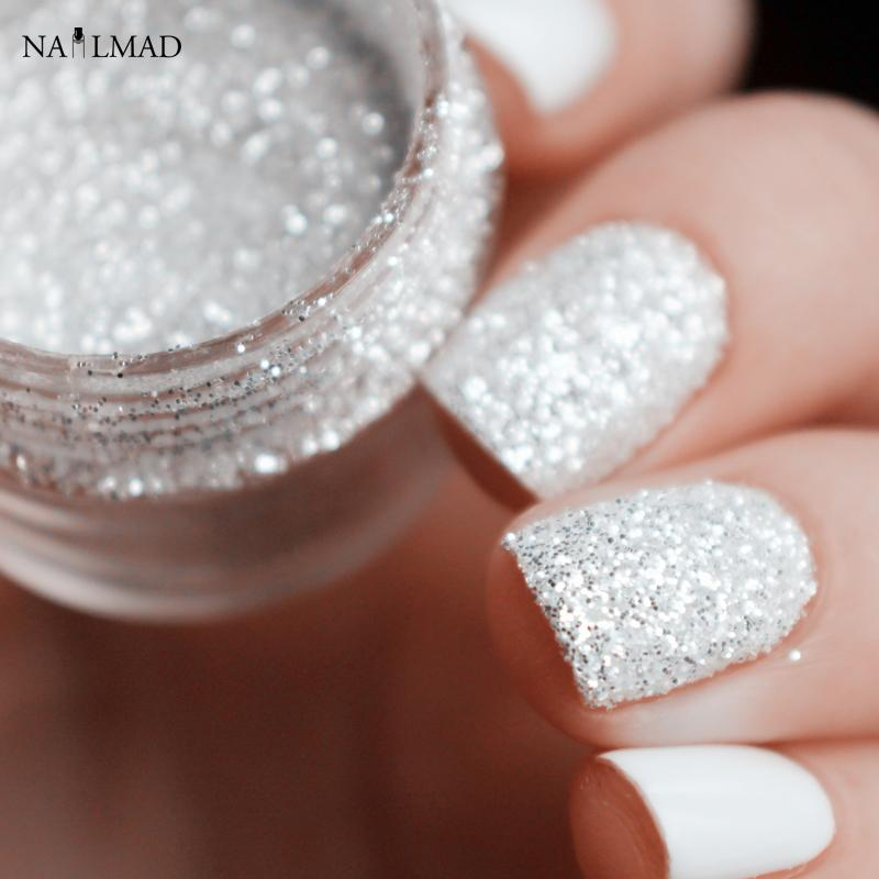Wholesale 10ml Shiny Silver Nail Glitter Sequin White Glitter Powder