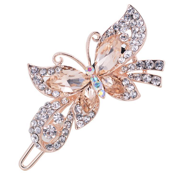 Fashion Women Crystal Diamond Butterfly Hairpins Hair Clip Barrette Hair Band Accessories
