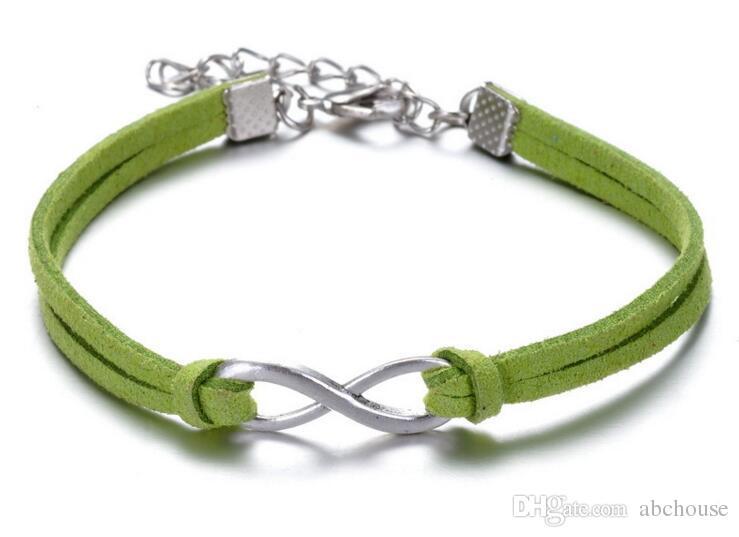 Gold Silber Infinity Sign Charm mit einem einstellbaren String Armband 8 Zeichen Armbänder Leder Armband Infinity Armbänder MOQ 30 STÜCKE