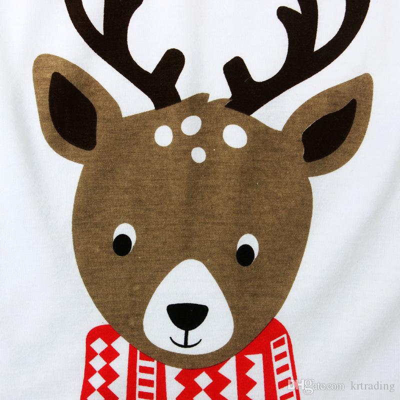 Kids Elk printing homewear sets Wearing a scarf deer printed long sleeve T shirt+striped pants boys girls Christmas pajamas