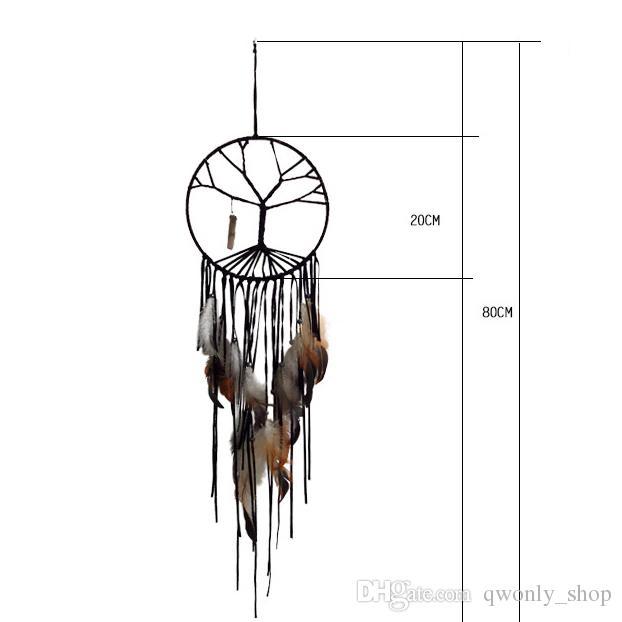 اليدوية شجرة الحياة السوداء حلم الماسك ديكورات المنزل داخلي اليدوية والمجوهرات الشرابة كريستال قلادة الحلي