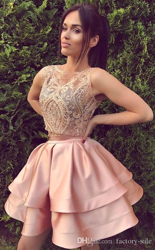 Blush Pink 2018 Sexy Two Piece Short Homecoming Dresses A Line Sleeveless  Backless Mini Cocktail Dress Prom Party Gowns Custom Lace Homecoming Dresses  Under ... cdd22f6ab