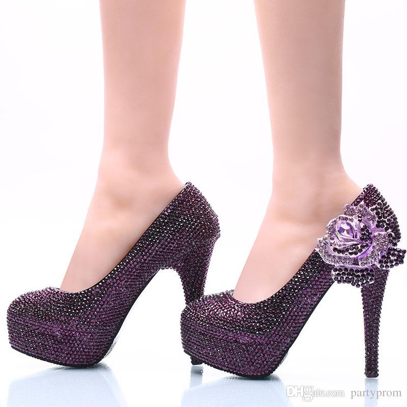 31fda26170e New Style Women Dress Shoes Purple Rhinestone with Rose Flower Bridal  Wedding High Heel Shoes Cinderella Prom Pumps Plus Size Purple Rhinestone  Wedding ...
