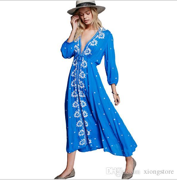 c4fb18c71 Nuevo hot 2017 boho dress verano / otoño vestido de mujer bohemio maxi  flojo con cuello en v sexy retro negro hippie chic vestidos marca ropa de  ...