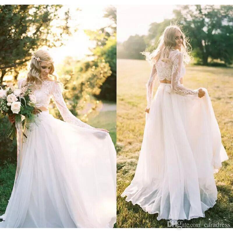 Elegant Two Pieces Lace Arab Wedding Dress Sheath 2017: Discount 2017 Elegant Two Pieces Lace Wedding Dresses Plus