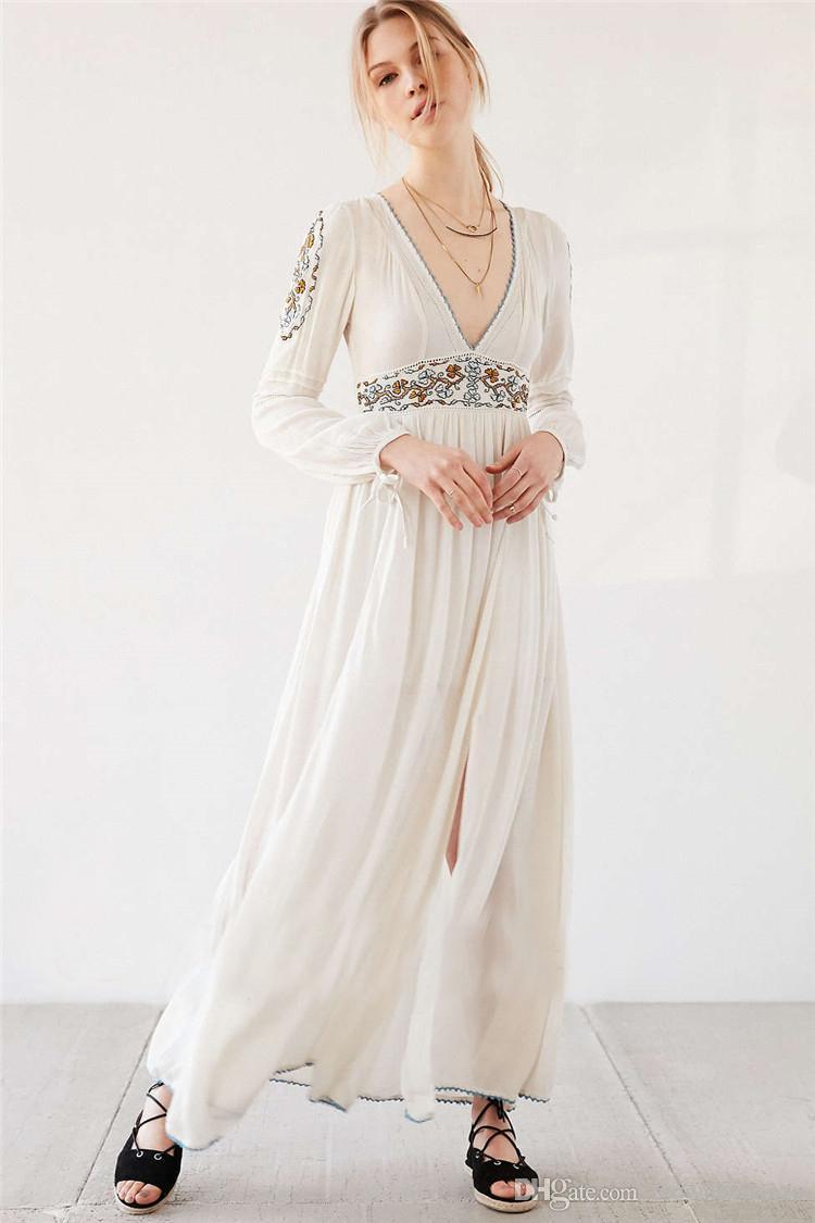 Großhandel 2017 Neue Europa Bohemian Stil Stickerei Maxi Langes Kleid Boho  Hippie Weiß Langes Kleid Herbst Elegante Dünne Maxi Dress Vestidos Von ... aefb02da95