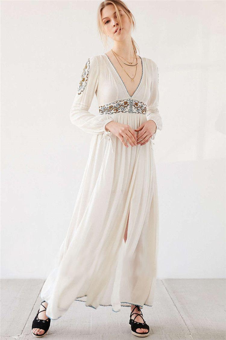 2017 New Europe Bohemian Style Embroidery Maxi Long Dress