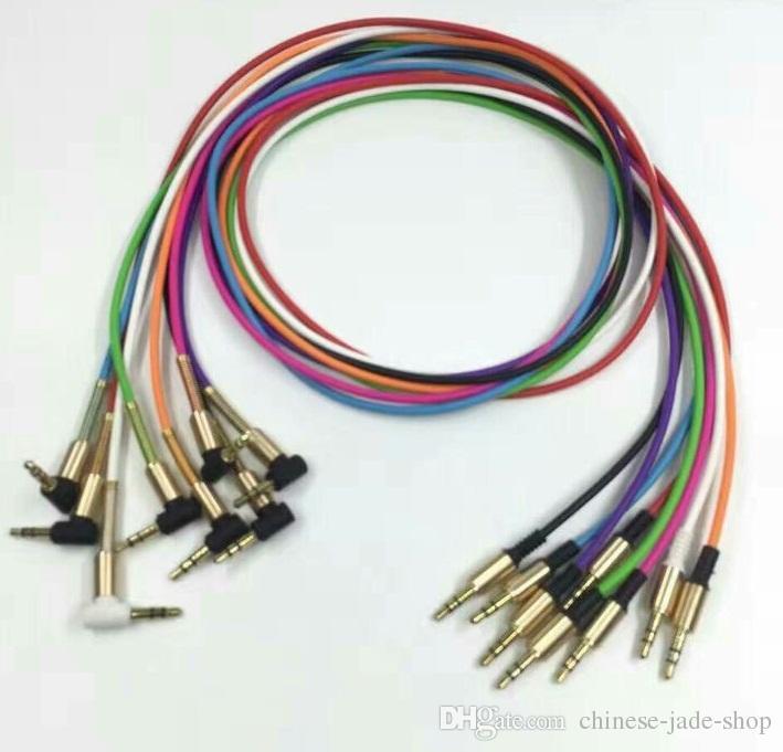 L Plug Aluminium Metalen Adapter TPE Materiaal 3.5mm Stereo Audio AUX CABLE 1M 3FT OD3.2mm met stalen lente reliëf /