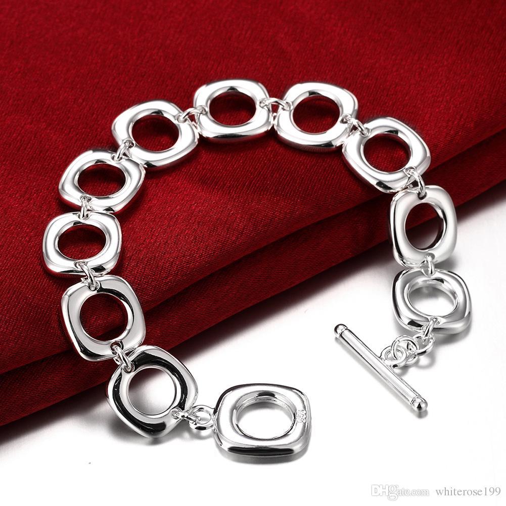 Venta al por mayor - Venta al por menor precio más bajo regalo de Navidad, envío gratis, nueva pulsera de plata 925 moda BH106