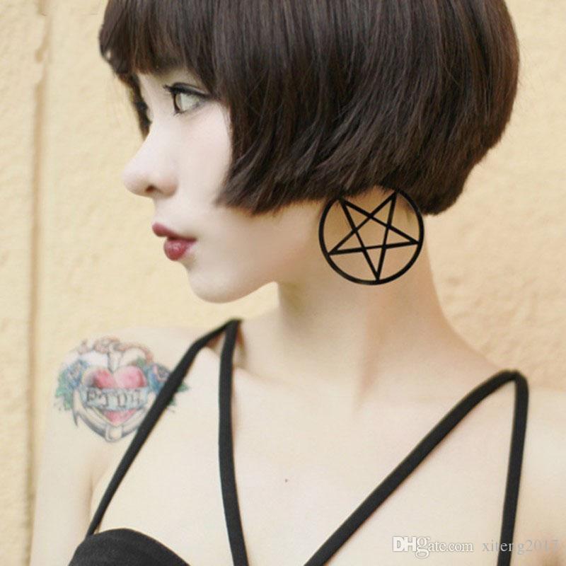 Gran Negro Pentagrama Pendientes Colgantes Mujeres Aros Colgantes Bijoux Clásico Pendientes Grandes Diseño de La Joyería al por mayor