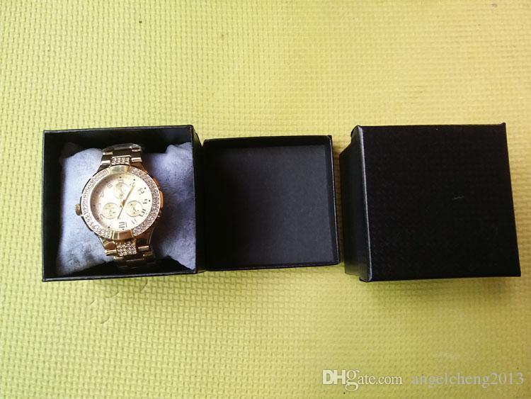 20 stks 8x8x6cm vierkante harde papier enkele armband armband sieraden horloge geschenkdoos horloge display verpakking zwart