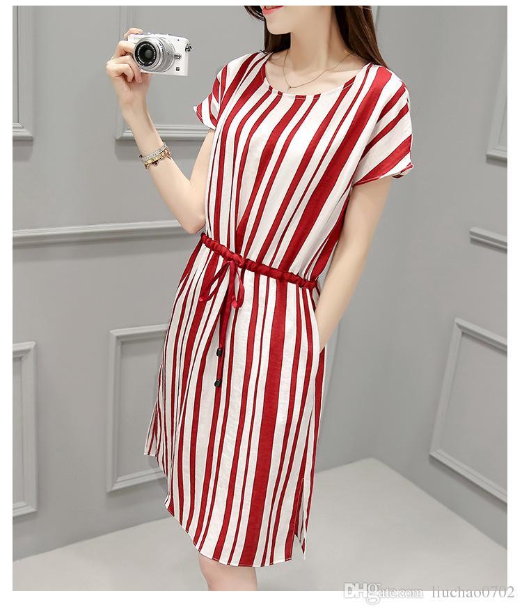 Compre Vestido De Rayas Para Las Damas 2017 Nuevo Estilo Coreano ...