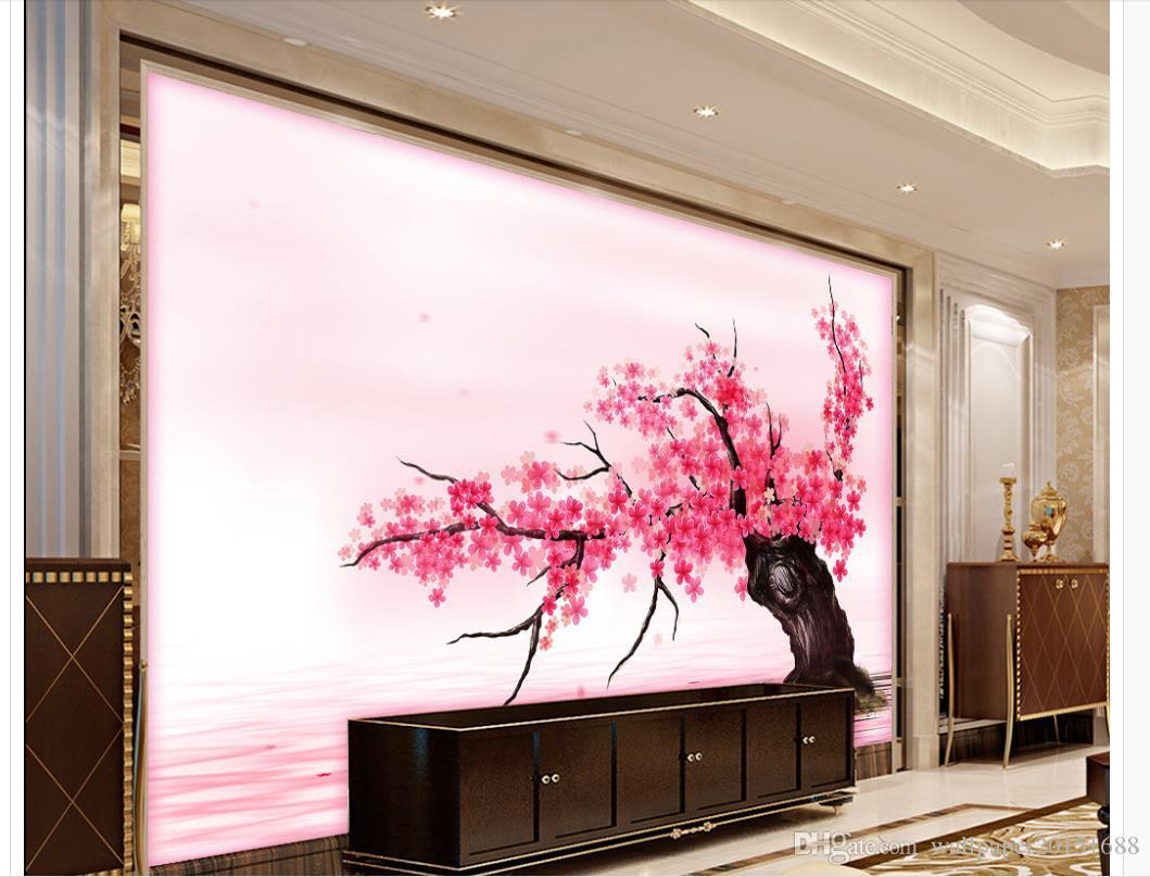 Customized Wallpaper For Walls Pink Romantic Cherry Blossom Tv