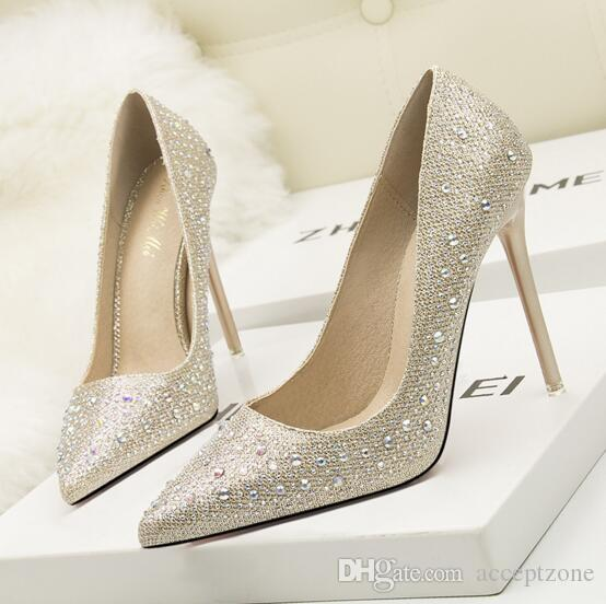 b65e10520a5a60 2018 Women Pumps PU Sequined 10cm Bottom High Heels 2017 Hot New ...