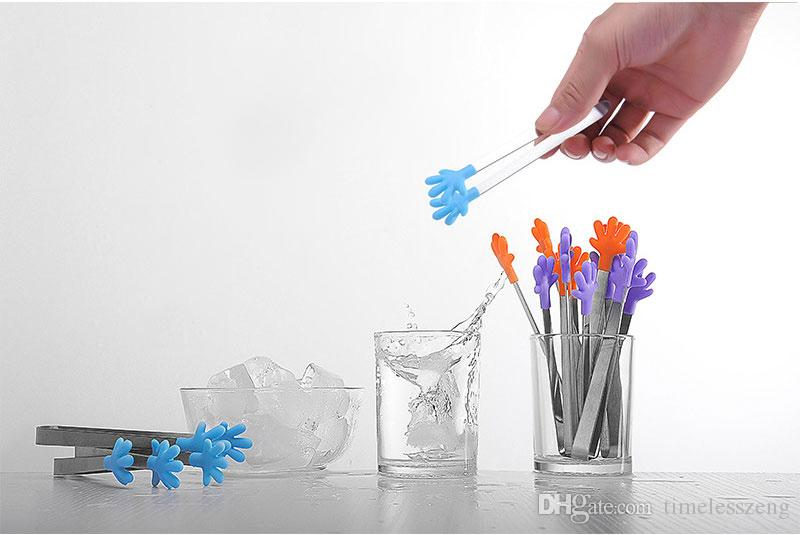 Kleine palm edelstahl zangen kreative silikon clip eis rutschfeste clip mini lebensmittel clip silikon platz kuchen grillwerkzeug