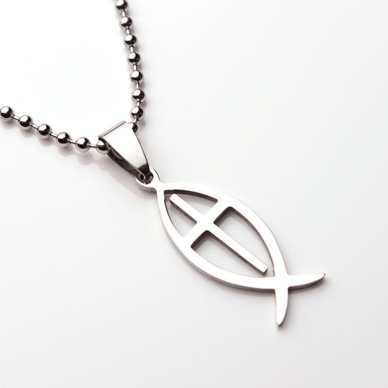 Wholesale Mf1314 Titanium Steel Cross Jesus Fish Pendant Necklace