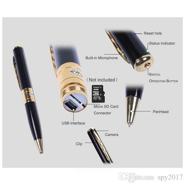 1280*960 HD Pen Camera Recorder Mini Pen DVR Voice Video Recorder Micro Video Cameras Silver & Gold with Retail Box