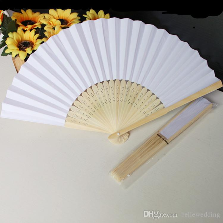 Hochzeit Gefälligkeiten Heißer Verkauf Weißes Leeres Papier DIY Braut Fans Hohl Bambus Griff Hochzeit Zubehör Party Favors # WF001