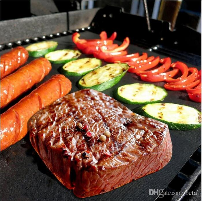 BBQ Grill Mat Reusable No Stick Baking Easy Clean Grilling Fried Sheet Portable Outdoor Picnic Cooking Barbecue Tool 33*40CM 0.2MM Black