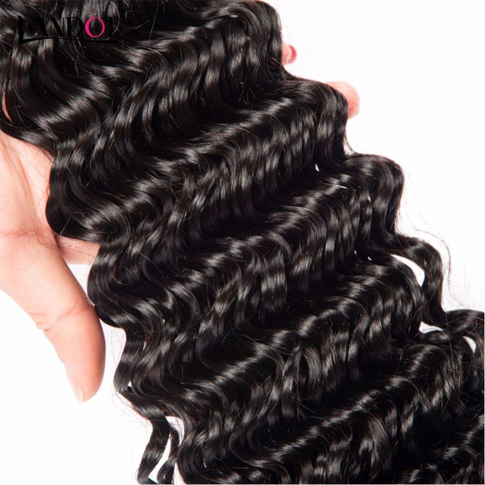Hint Derin Dalga Virgin İnsan Saç Kapatma Ile Işlenmemiş Derin Kıvırcık Dalgalı Saç Örgüleri 3 Demetleri Ve Dantel Kapatma Ücretsiz / Orta Kısmı 4X4Size